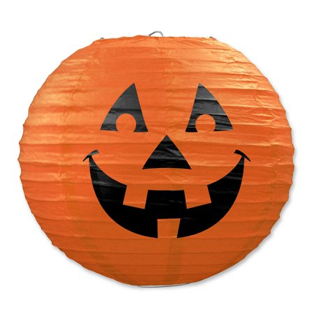 Club Pack of 18 Orange and Black Halloween J-O-L Hanging Paper Lantern Party Decorations 9.5