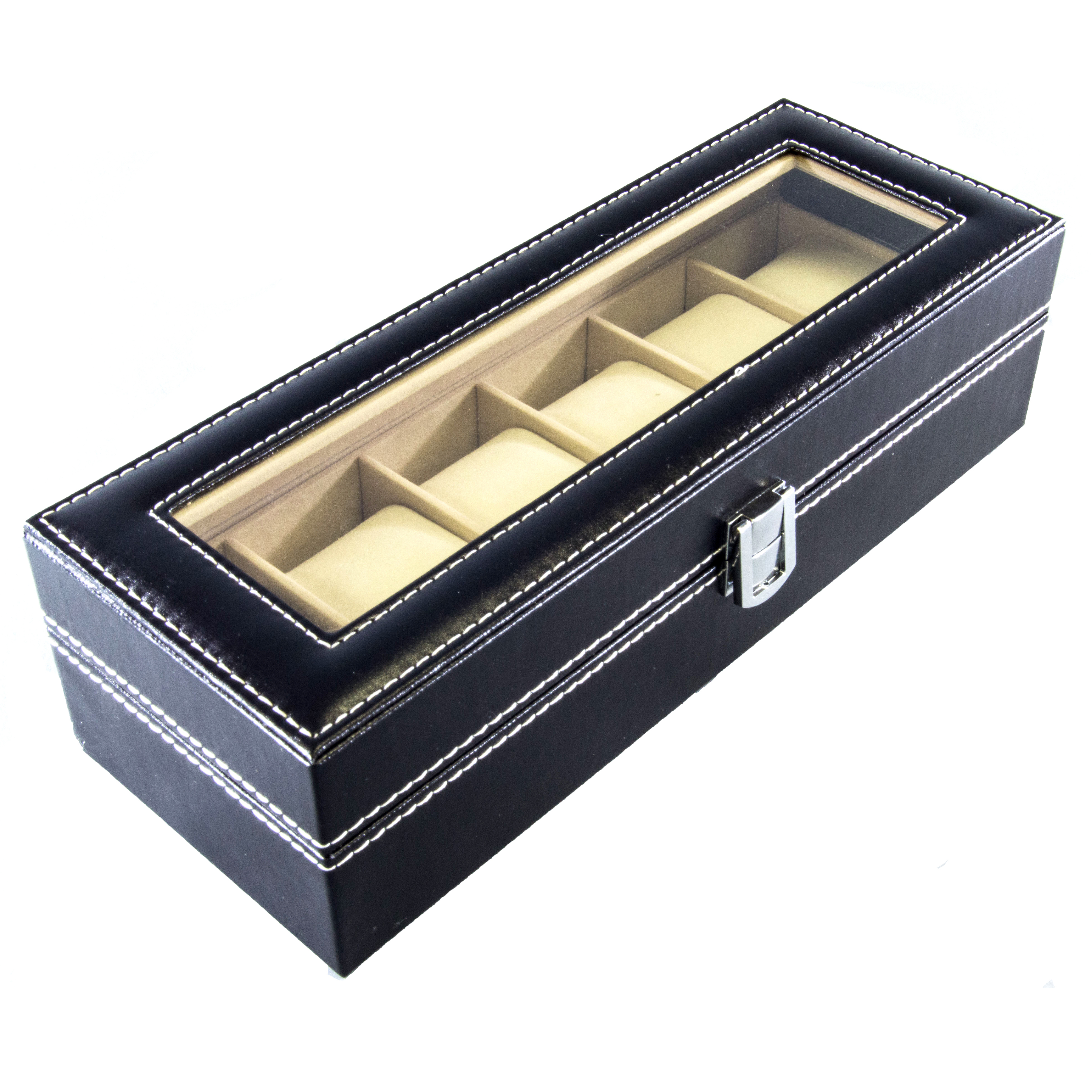 Watch Box 6 Mens Black Faux Leather Display Glass Top Jewelry Case Organizer