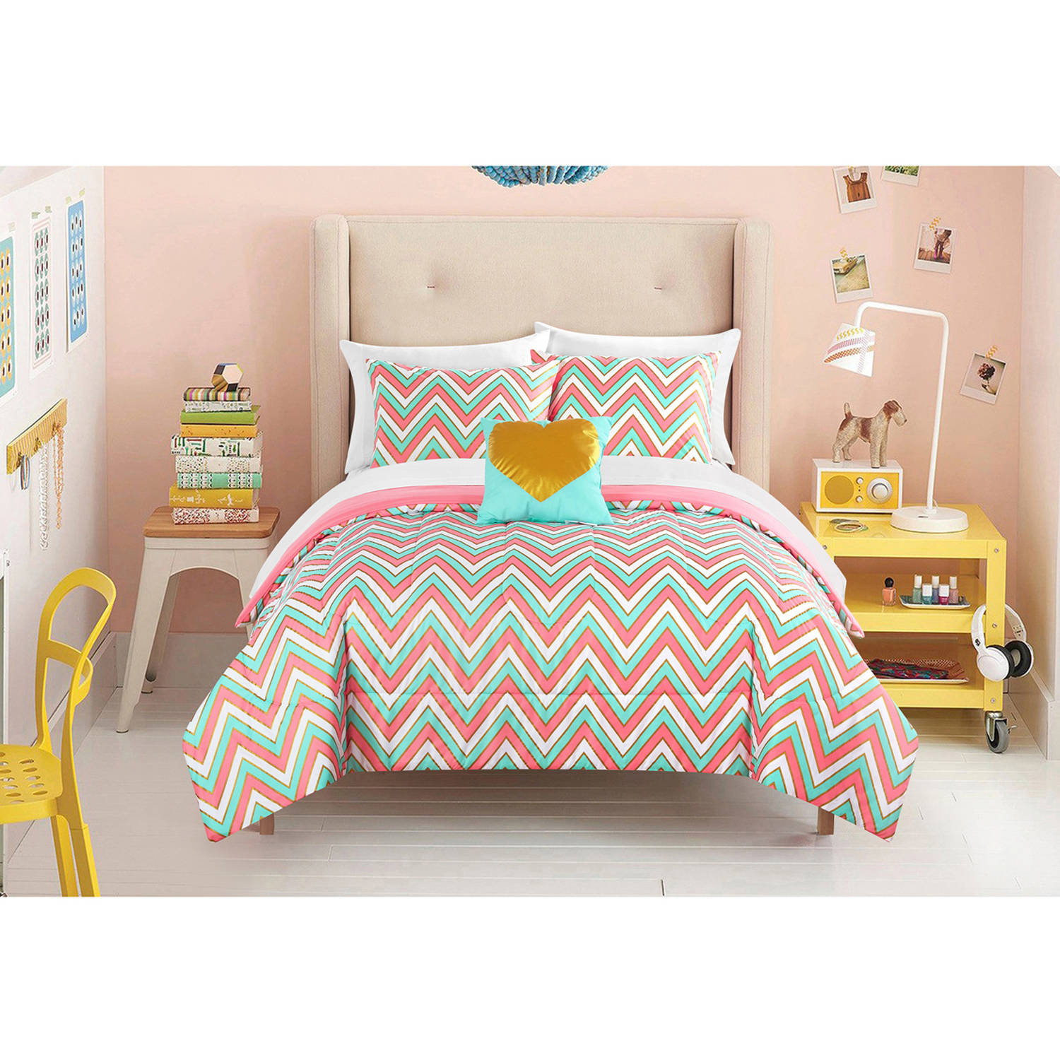 Latitude Gilded Chevron Bed in a Bag Bedding Set