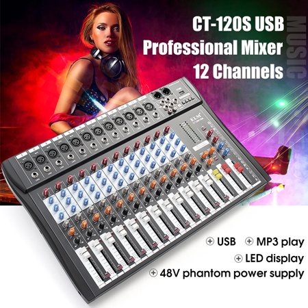 - 48V Bluetooth Studio Audio Mixer Professional 12 Channels Mixing Console System Fashion DJ Sound XLR LCD With USB Stereo Output Jacks REC Headset Interfaces