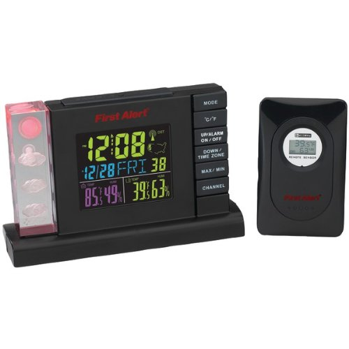 First Alert Radio Controlled Weather Station Alarm Clock with Wireless Sensor
