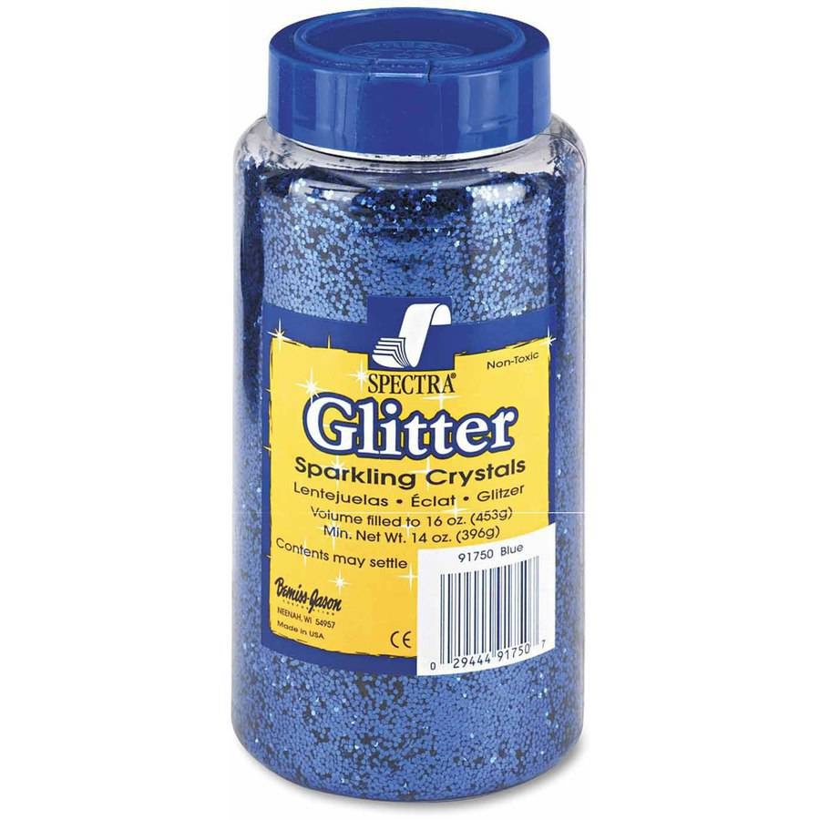 Pacon Spectra Glitter, .04 Hexagon Crystals, Blue, 16 oz Shaker-Top Jar