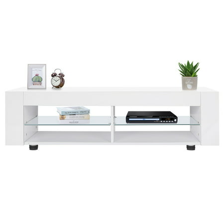 TV Cabinet,Zerone High Gloss TV Cabinet with LED Lights Modern TV Stand Media Console Cabinet Remote (Modern Control Technology)