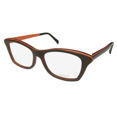 b1a9538bfff0 New Gold   Wood Electra Womens Ladies Cat Eye Full-Rim Wood Brown   Orange  Hot High-class Upscale Cat Eyes Frame Demo Lenses 52-16-140 Flexible Hinges  ...