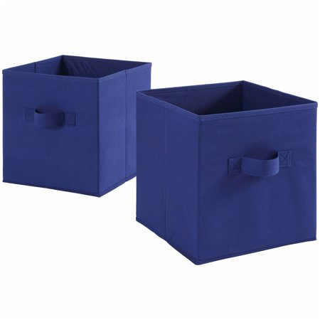 "Mainstays Collapsible Fabric Cube Storage Bins (10.5"" x 10.5""), Set of 2, Multiple Colors"