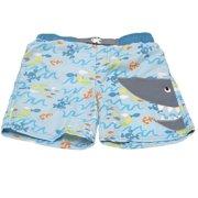 Little Boys Blue Fish Print Shark Mouth Applique Swimwear Trunks 4T