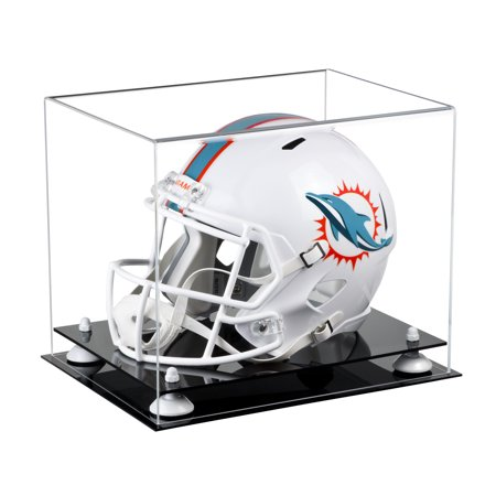 Football Helmet Display Case (Deluxe Clear Acrylic Football Helmet Display Case with White Risers (A002-WR) )