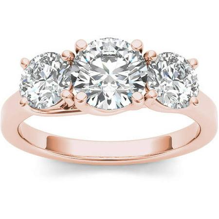 2 Carat T.W. Diamond Three-Stone 14kt Rose Gold Engagement