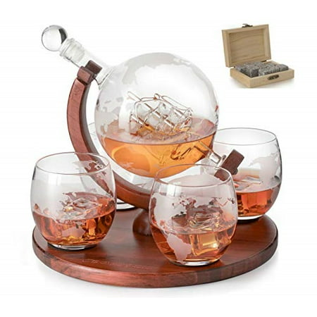 Etched World Decanter whiskey Globe - The Wine Savant Whiskey Gift Set Globe Decanter with Antique Ship, Whiskey Stones and 4 -