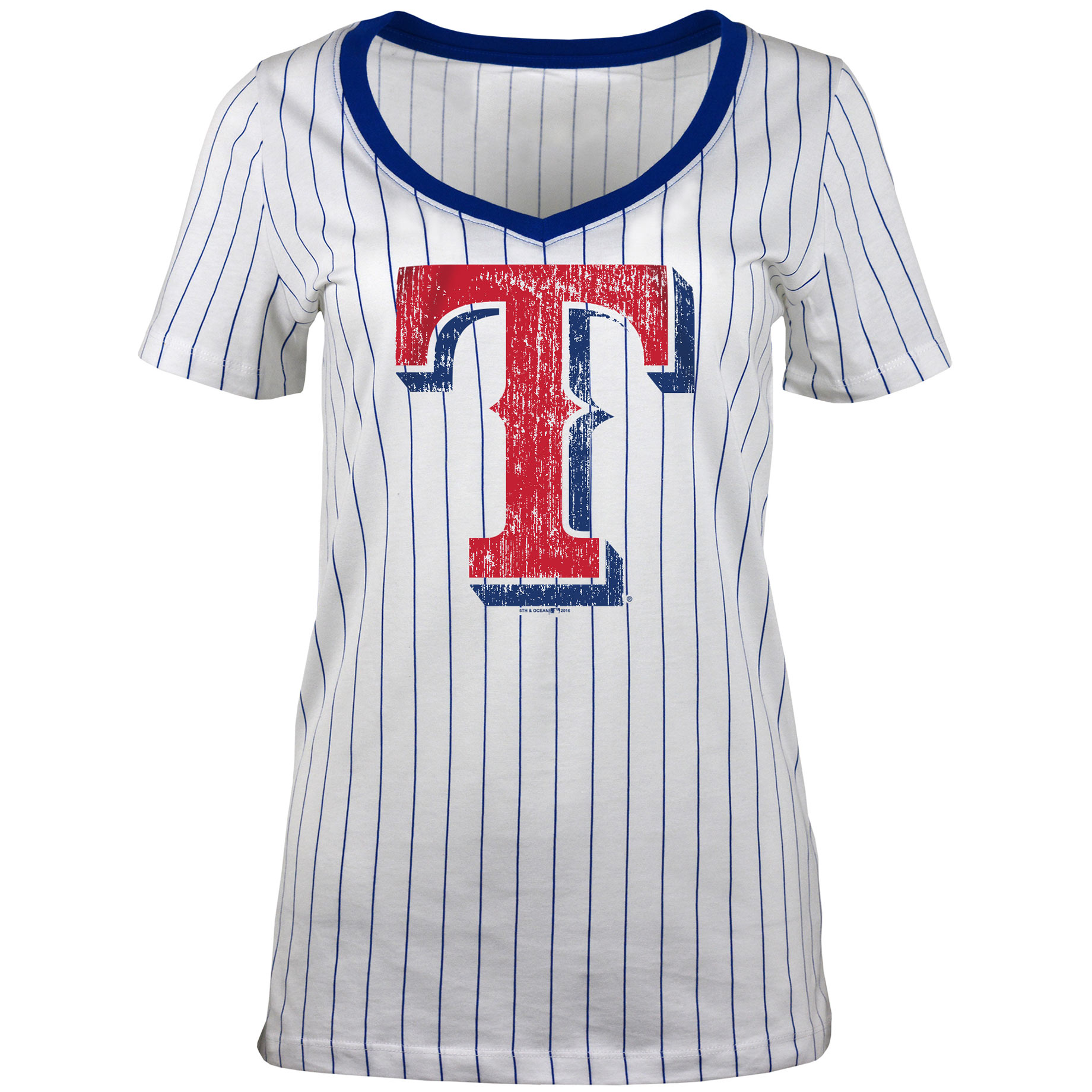Texas Rangers 5th & Ocean by New Era Women's Baby Jersey Pinstripe Ringer T-Shirt - White