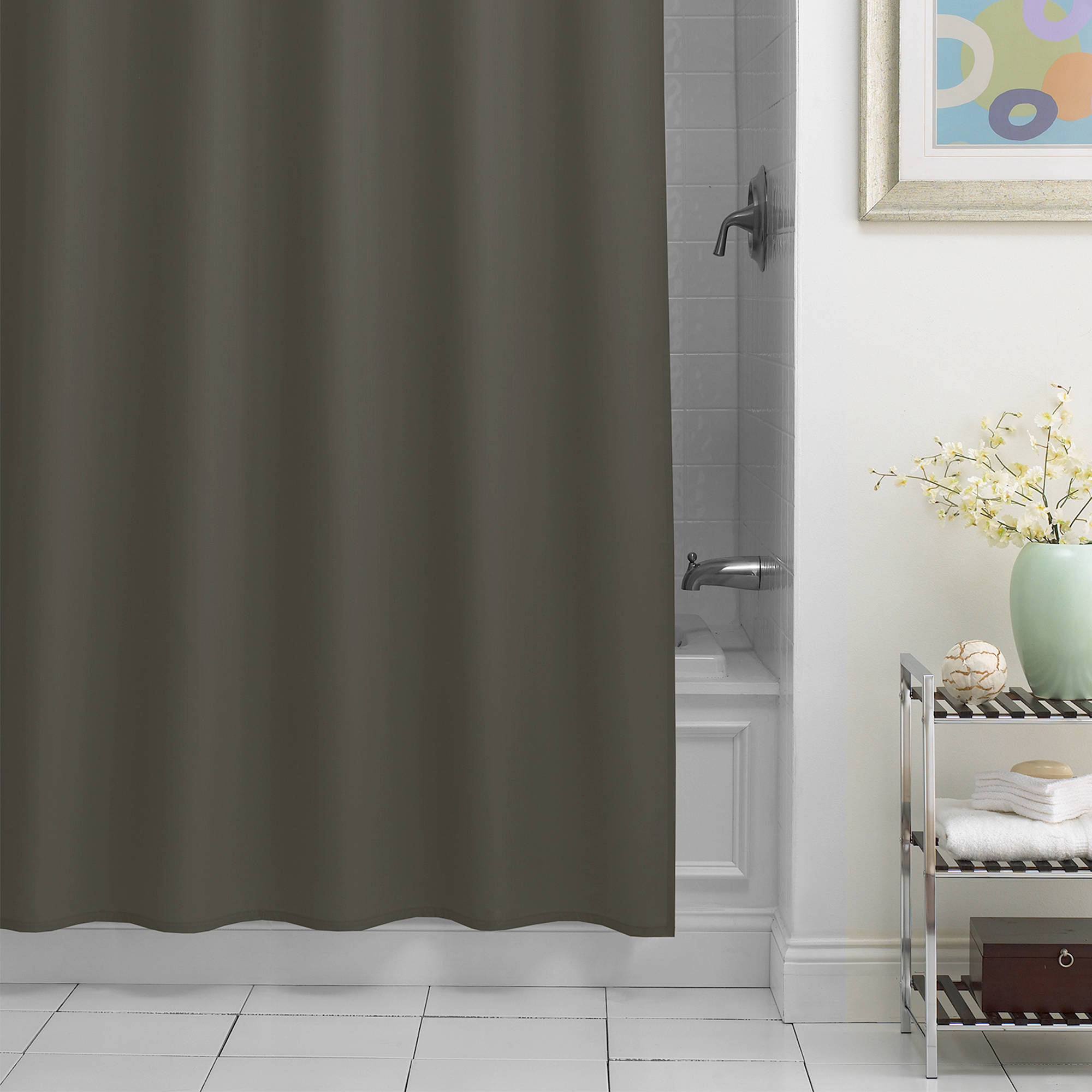 Excell Chevron Fabric Shower Curtain Liner
