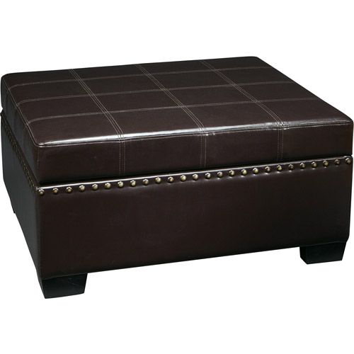 Avenue Six Nailhead Detour Storage Ottoman with Tray, Multiple Colors