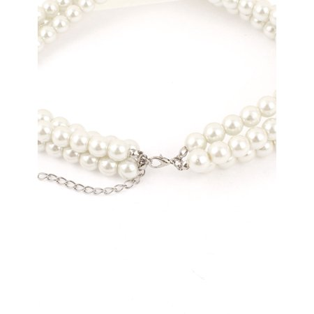 White Imitation Pearls Teardrop Beads String Necklace Bracelet Earrings 3 in 1 - image 1 of 2
