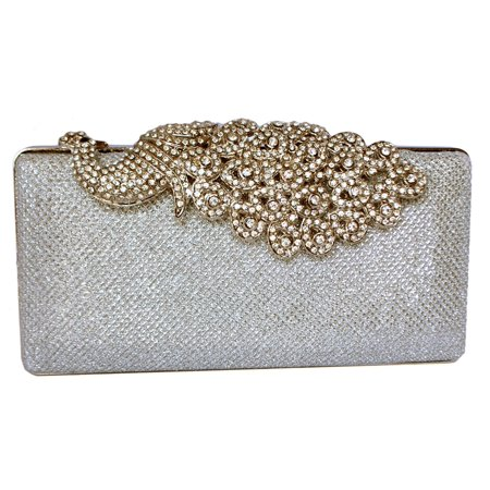 Chicastic Mesh Rhinestone Peacock Hard Box Wedding Cocktail Clutch Purse - Silver Davis Metal Mesh Clutch