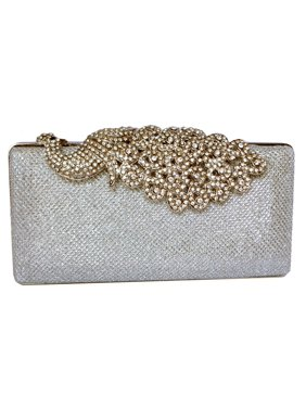 Product Image Chicastic Mesh Rhinestone Peacock Hard Box Wedding Cocktail  Clutch Purse - Silver 268a1d78c3170