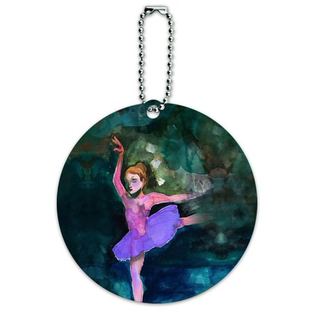 Ballerina Tag - Graphics and More Ballet Dancer Blue Purple Ballerina Dancing Round ID Card Luggage Tag