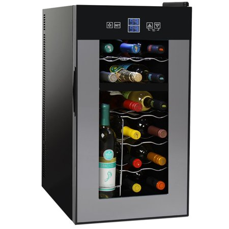 NutriChef PKTEWCDS1802 - 18 Bottle Dual Zone Thermoelectric Wine Cooler - Red and White Wine Chiller - Countertop Wine Cellar - Freestanding Refrigerator with LCD Display Digital Touch Controls