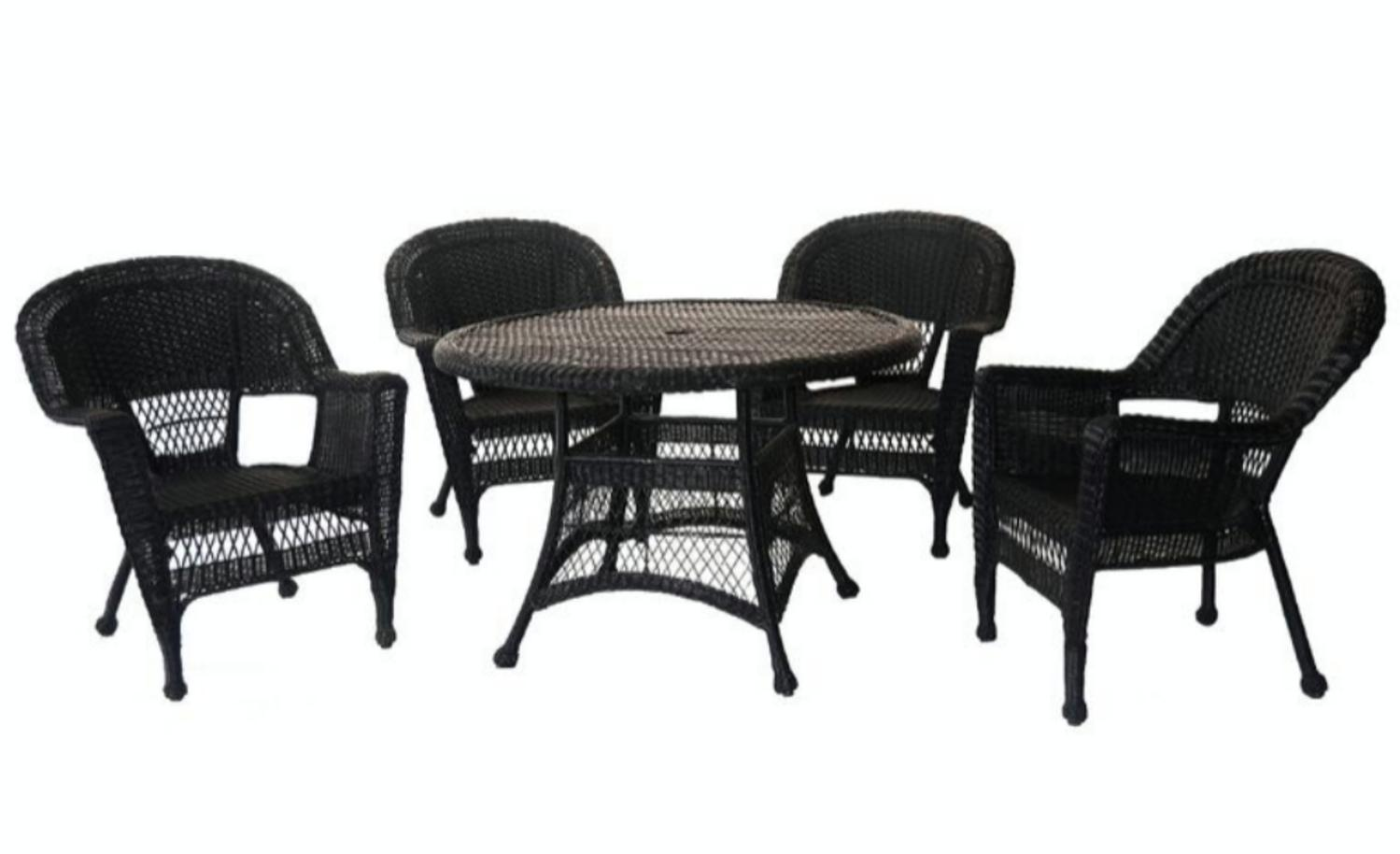 5-Piece Black Resin Wicker Chair and Table Patio Dining Furniture Set by CC Outdoor Living
