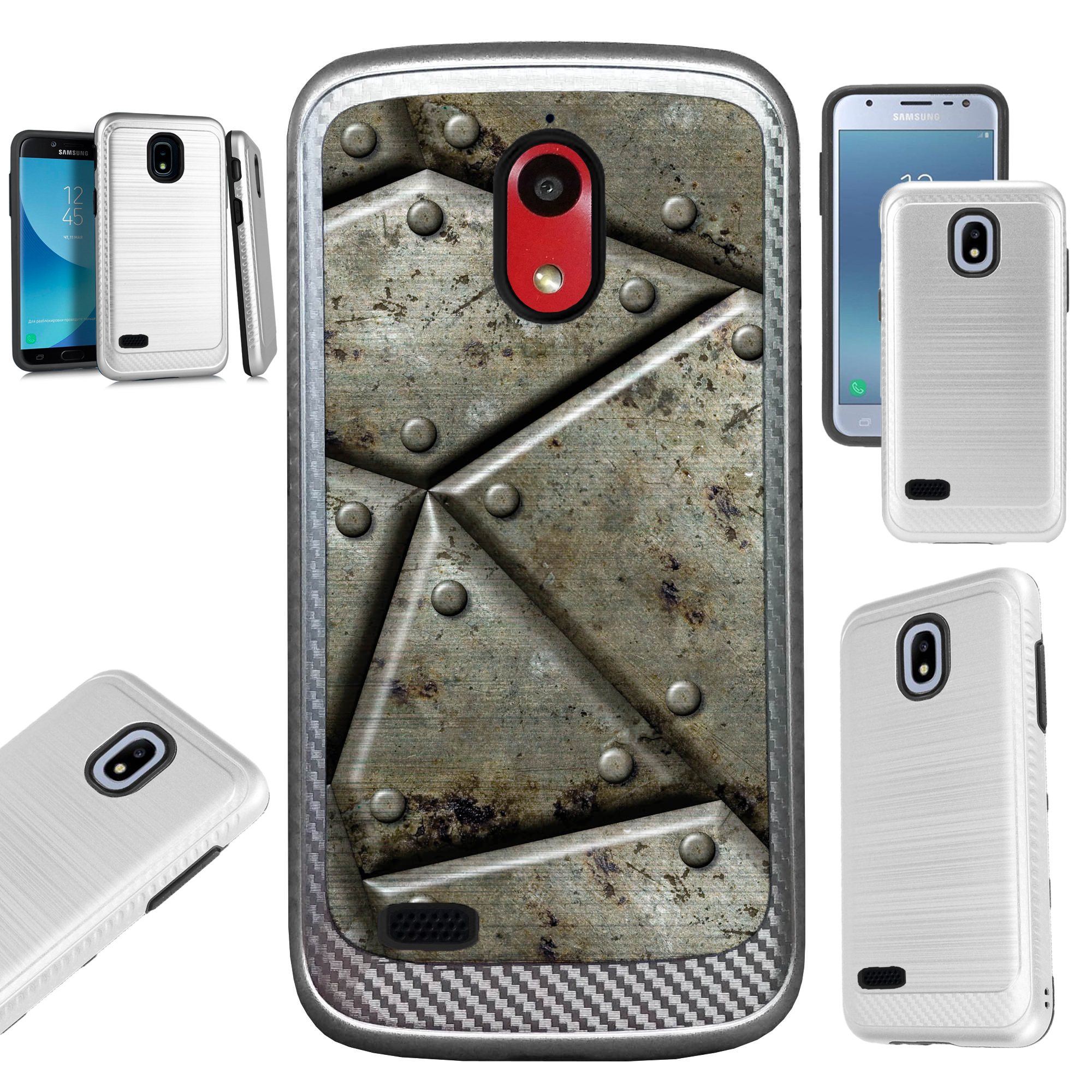 For AT&T Axia (2018) Case Brushed Metal Texture Hybrid TPU Artillery Phone Cover (Metal Shell Print)