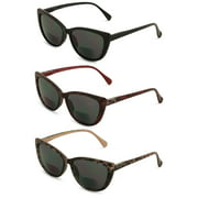 3 Pairs of Women's Bifocal Reading Sunglasses Reader Glasses Cateye Vintage Leopard Outdoor