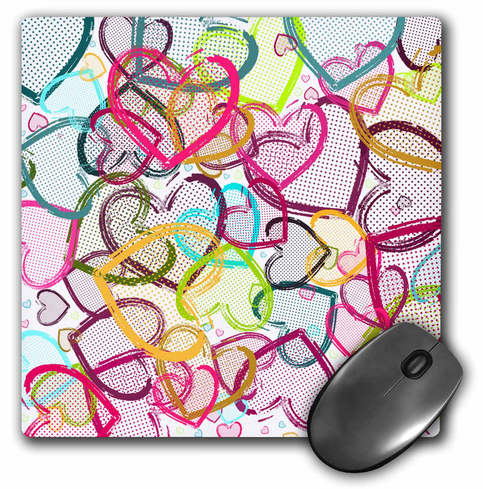 3dRose Candy Hearts, Mouse Pad, 8 by 8 inches mp_32522_1