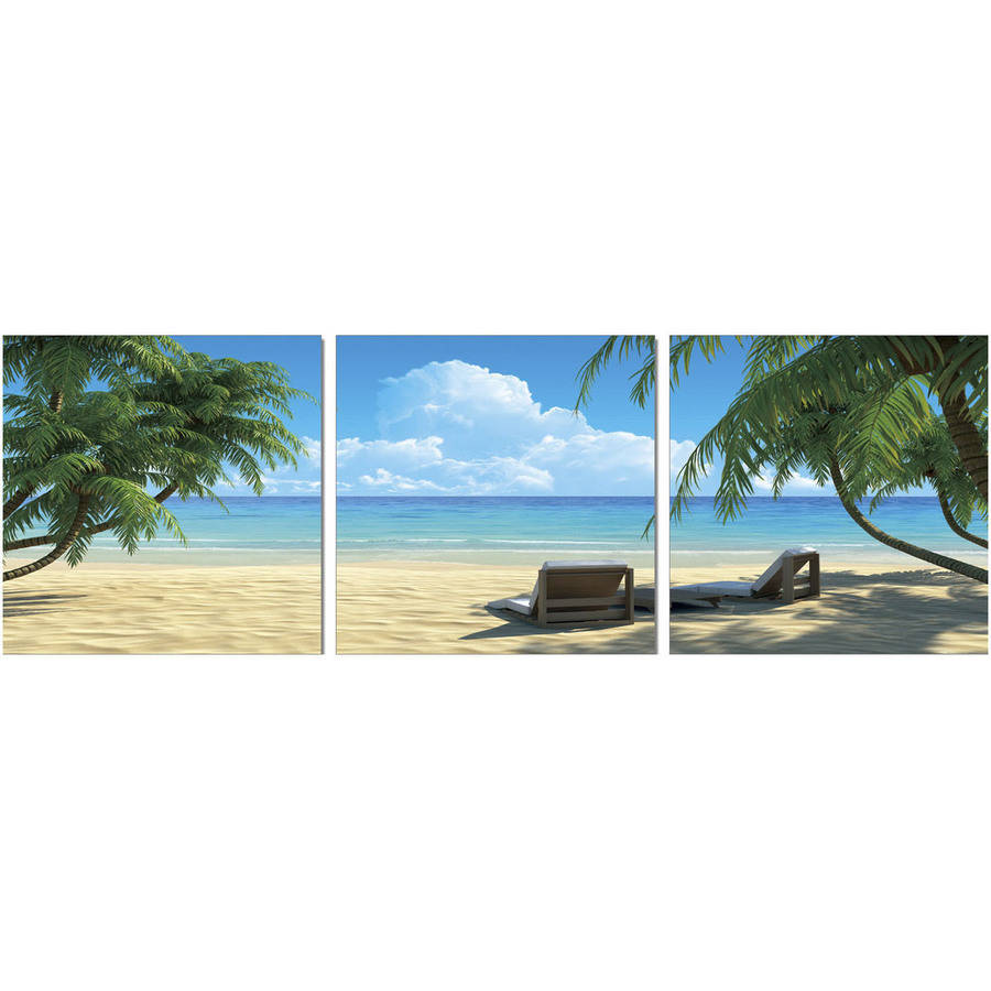 """Furinno SeniA Coconut Tree and Chair 3-Panel MDF Framed Photography Triptych Print, 48"""" x 16"""""""