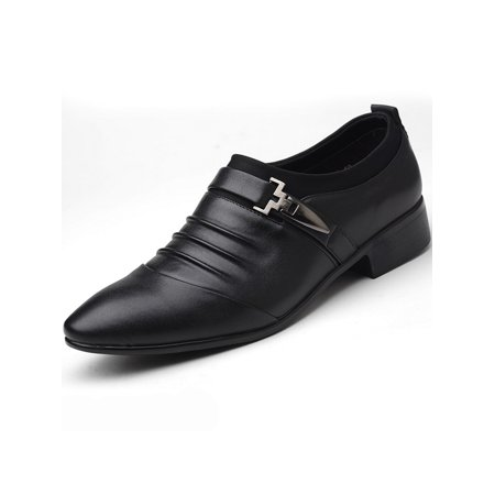 Men Formal Work Single Monk Strap Buckle Pointed Toe Slip On Loafers Dress