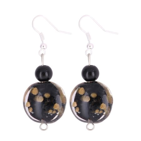 Women Plastic Dot Pattern Inner Oval Bead Drop Hook Dangle Earrings Black Pair ()