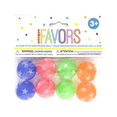 Glow in the Dark Bouncy Ball Party Favors, 8ct