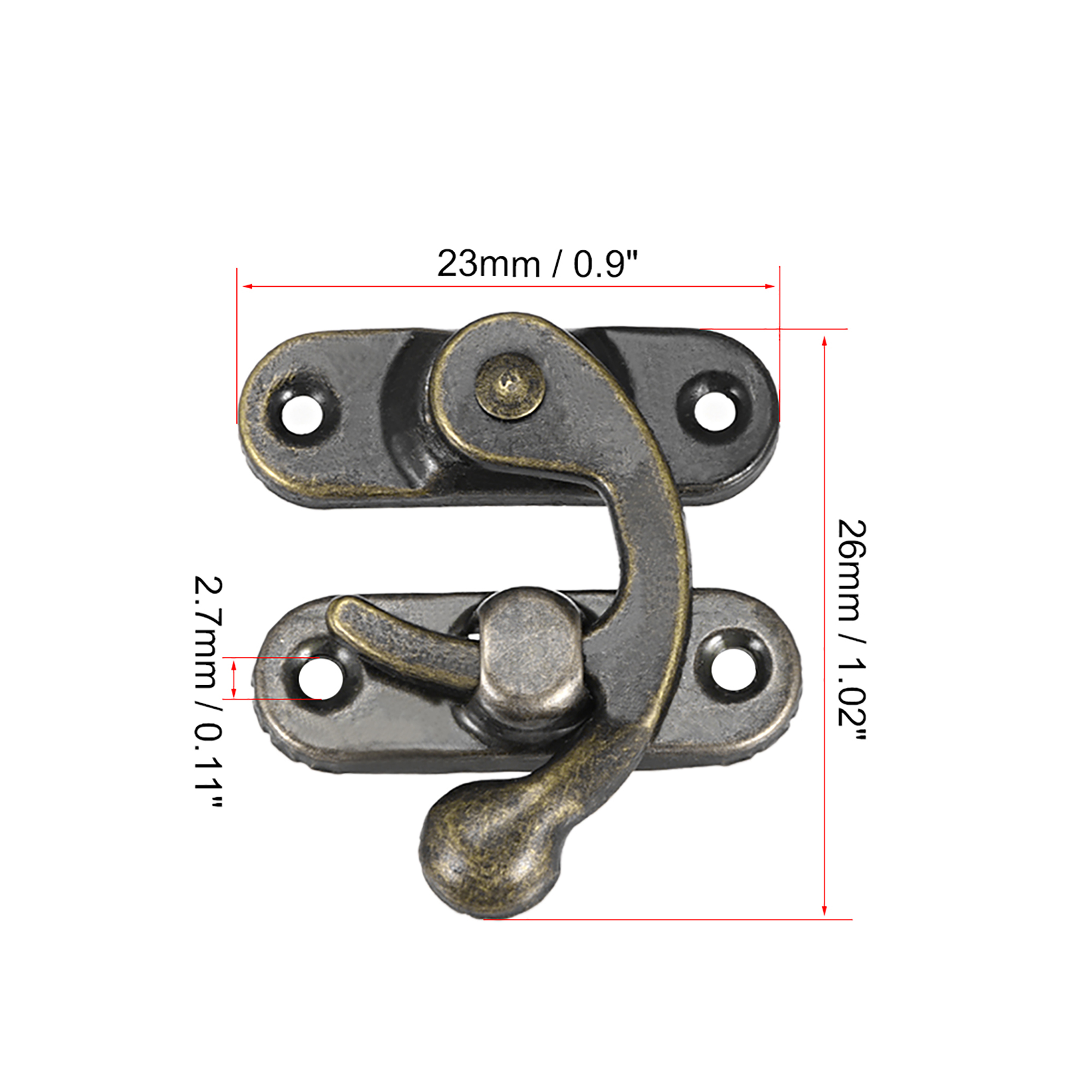 Antique Right Latch Hook Hasp, 26mm Swing Arm Latch Plated Bronze 20 Pcs w Screws - image 3 of 4
