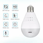 WiFi Bulb Security Camera -960P Wireless Security Camera Bulb- Fisheye LED Light 360° Panoramic for Remote Light Cameras, Motion Detection for iPhone/Android/Windows