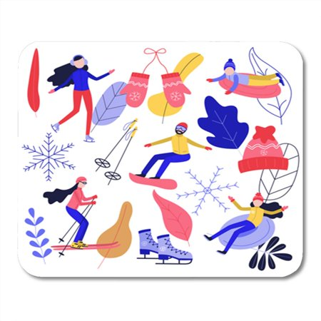 KDAGR Winter Sport and Active Leisure People Riding Skates Snowboard Mousepad Mouse Pad Mouse Mat 9x10 inch