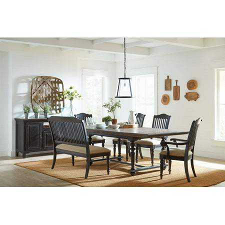 Simpson 5-piece Rectangular Table Dining Set Latte and Vintage  Black-Color:Beige,Finish:Black,Style:Country Rustic