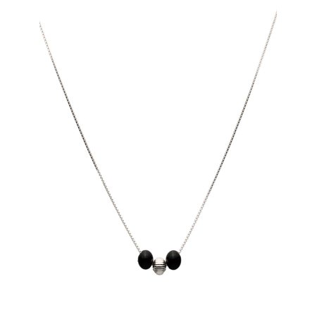 """Black Onyx Stone Station Sterling Silver Bead Box Chain Necklace 16"""""""