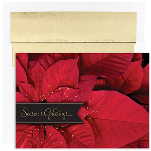 JAM Paper® - Poinsettia Greetings Christmas Card Pack - 16 Holiday Cards & Envelopes per pack