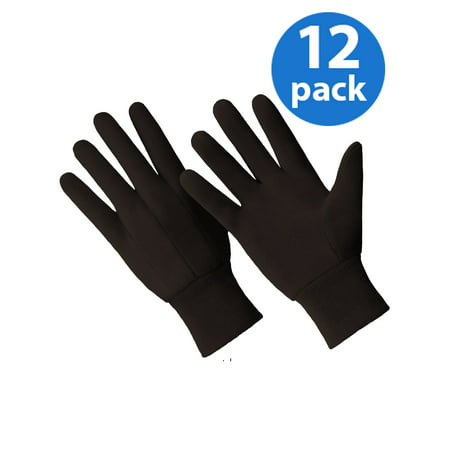 Ride Jersey Gloves (CT7000-L-12PK, 12 Pair Value Pack, Poly/Cotton Blend Brown Jersey)