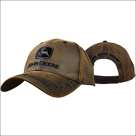 JOHN DEERE MENS OILSKIN PATCH BARB WIRE ADJUSTABLE BASEBALL CAP - John Deere Winter Cap