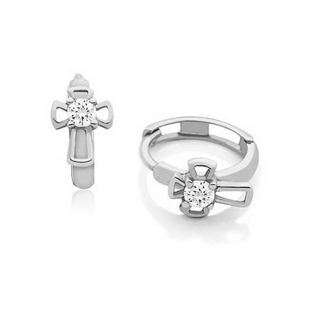 Girls 14k White Gold Cross Huggie Hoop Earrings with Cubic Zirconia (0.5