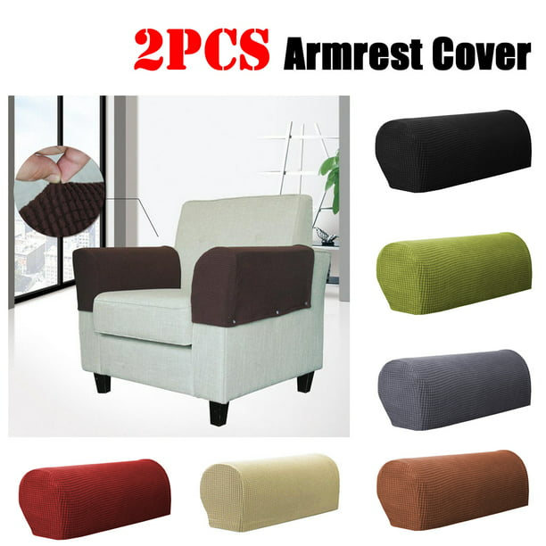2PCS Removable Armchair Covers Checkered Stretch Sofa Couch Arm Chair