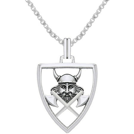 New 0.925 Sterling Silver Norse Viking Warrior Axe Shield Charm Pendant - Charm Necklaces
