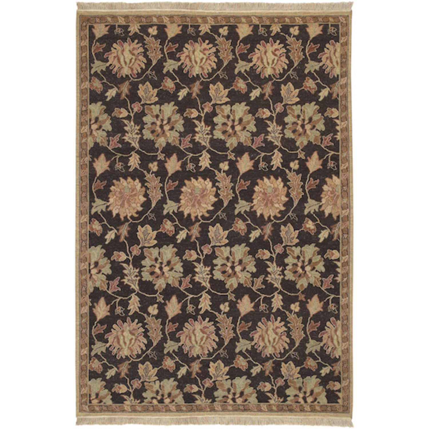 9' x 12' Spanish Ivy Eggplant and Rose Wool Area Throw Rug