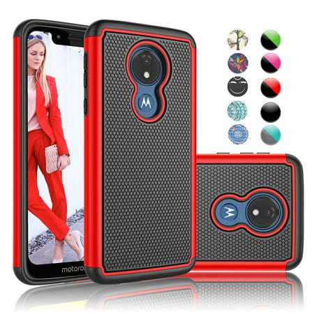Moto G7 Play Case, Cute Cases for Motorola G7 Play, Njjex Rugged Rubber Shock Absorbing Plastic Scratch Resistant Defender Bumper Slim Grip Hard Cover Cases For Motorola G7 Play XT1952 -Red Green Soft Plastic Case