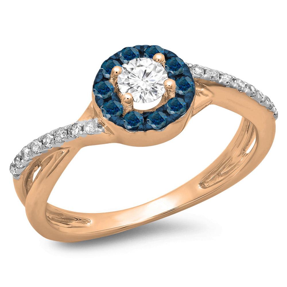 0.50 Carat (ctw) 14K Rose Gold Round Cut Blue & White Diamond Ladies Swirl Split Shank Bridal Halo Engagement Ring 1/2 C