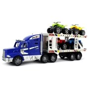 Off-Road King Express Trailer Children's Kid's Friction Toy Truck Ready To Run w/ 4 Toy ATV Cars, No Batteries Required (Colors May Vary)