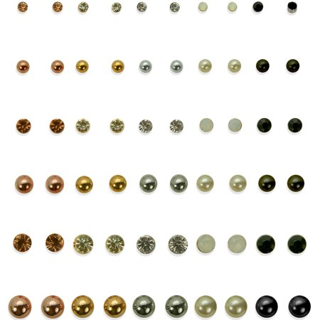 (Nobo 30 On Multi Stud post earring set featuring graduated acrylic stone studs and ball studs in various plating's)