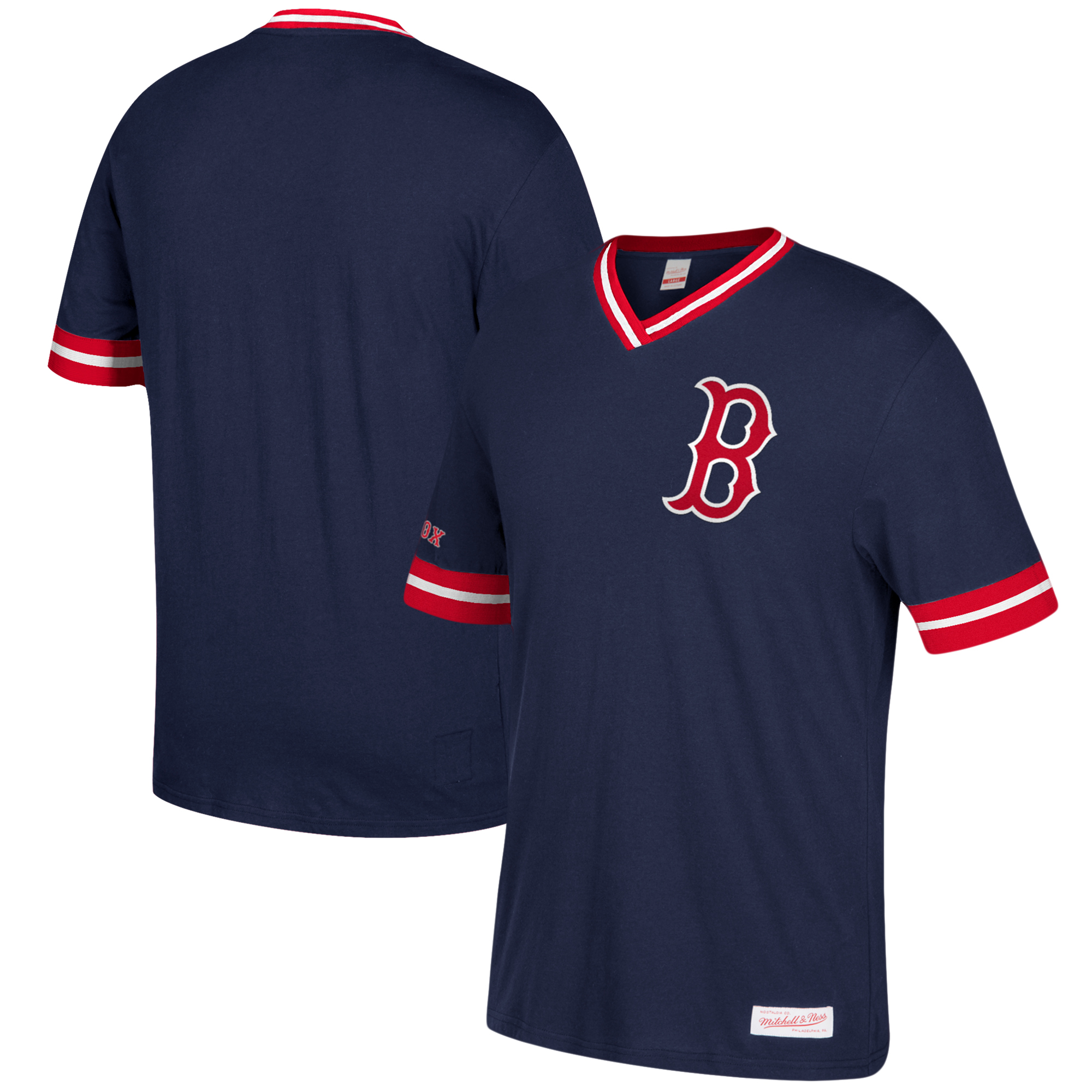 Mitchell and Ness Boston Red Sox Overtime Win Vintage T-Shirt MLB Navy Tee Top