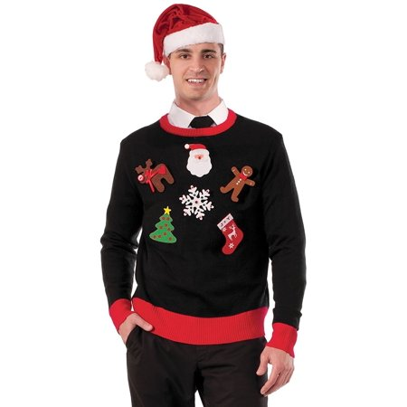 Men's Do It Yourself Ugly Christmas Sweater Kit, Multi, One Size, Do it yourself ugly Christmas sweater costume kit By Forum Novelties - Easy Do It Yourself Costumes