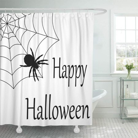 KSADK Alphabet Happy Halloween Spider White Black Cartoon Shower Curtain Bath Curtain 66x72 inch (Halloween Alphabet)