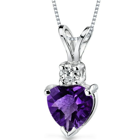 Peora 0.75 Ct Heart Shape Amethyst 14K White Gold Pendant with Diamond Accent, 18