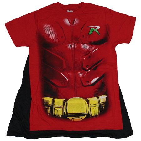 Robin T Shirt With Cape (Robin (DC Comics Batman) Mens T-Shirt - Red Costume Front With Cape (Medium,)